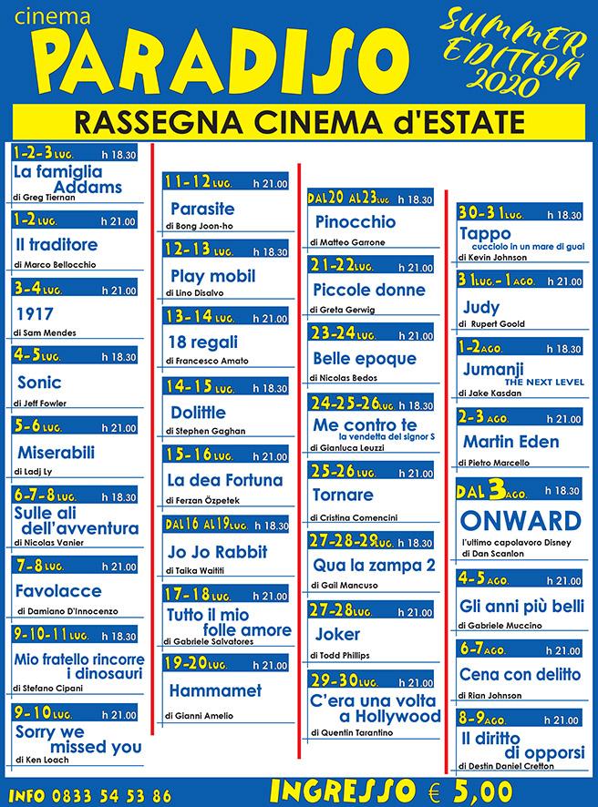 Rassegna cinema Paradiso estate 2020